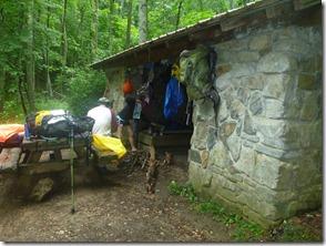We beat the rain to Trimpi Shelter